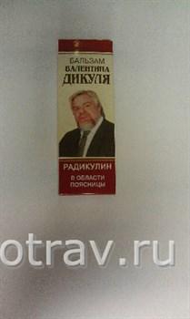 "Бальзам Валентина Дикуля""Радикулин""  75мл - фото 4689"