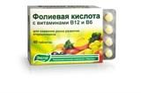 Фолиевая кислота с витаминами В6 и В12 40 таблеток по 0.22гр